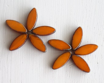 10 Milky Orange Picasso17x8mm Czech Glass Spindle Beads