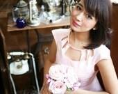 Pink Neck Cutout Bridesmaid Dress - S