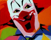 16 x 20 inch original Jeff Hughart folk outsider art funky clown painting - BOZO NO NO