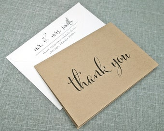 Monica Calligraphy Script Folded Thank You Cards - Recycled Kraft Wedding Thank You Cards