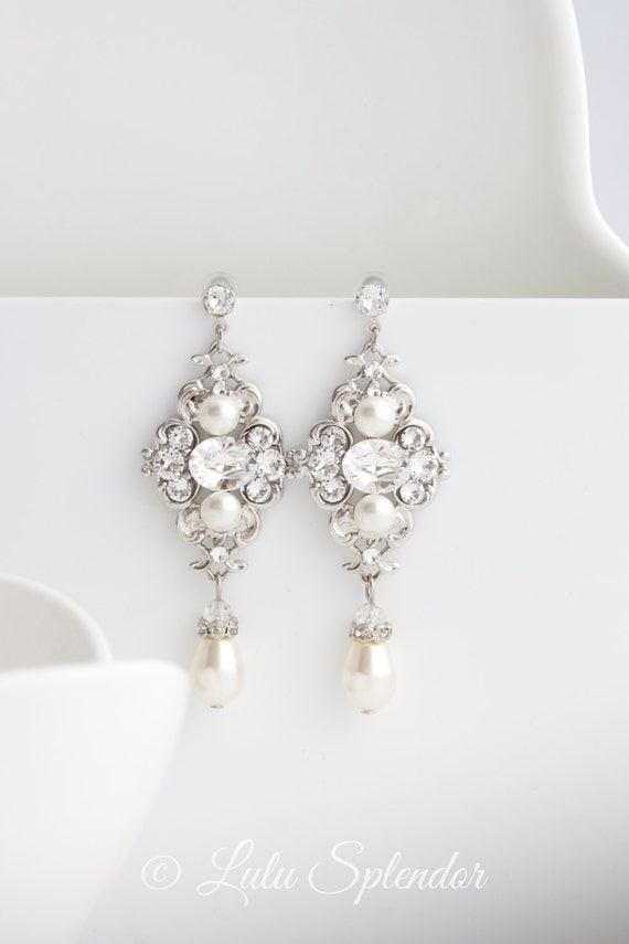 Bridal Earrings Ivory pearl Earrings Swarovski Pearl and crystals Vintage style Wedding Earrings, Wedding Jewelry LEILA