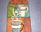 COFFEE CUPS Double Hanging Layer Crochet Towel for kitchen, housewarming, birthday, hoiday, gifts