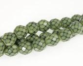 8mm LIGHT MOSS GREEN Snake Beads - 19 Pcs - Fire Polish Czech Glass Beads - Lime Green - Sage Green