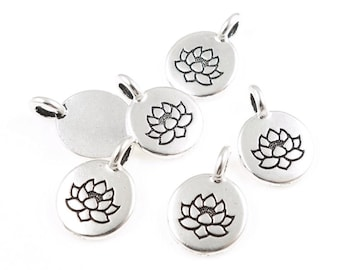 Tiny Lotus Pendants TierraCast Lotus Charm Antique Silver Charm Zen Buddhist Yoga Charms Pendant for Mindfulness Meditation Jewelry (P1218)