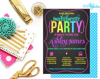 Neon 80s Diva // Bridal Shower Bachelorette Party Invitation // Customizable and PRINTABLE