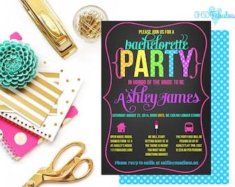 Neon 80s Diva // Bridal Shower Bachelorette Party Invitation // Customizable and PRINTABLE