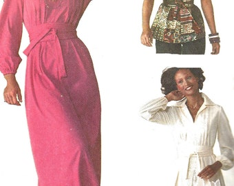 1970s Dress Pattern Top Vintage Simplicity Jiffy Sewing Women's Misses Size 12 Bust 34 Inches