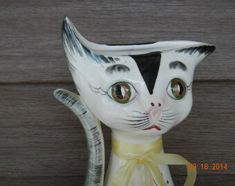 Ceramic Cat Vase Japan Original Arnart Creation Whimsical