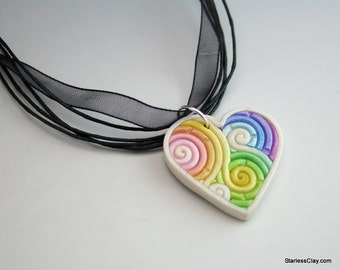 SALE Rainbow Heart Pendant in Pastel Fimo Filigree Clearance