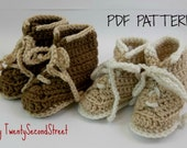 PDF PATTERN for Baby Booties  Combat Hiking or Work Boots Crochet Baby Shoes Military