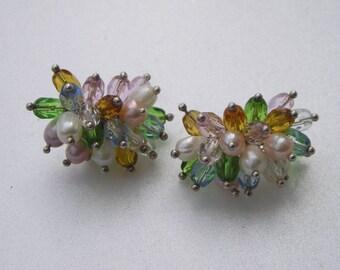 Beautiful Sterling Genuine Pearl & Multi Coroled Crystal Briolette Earrings