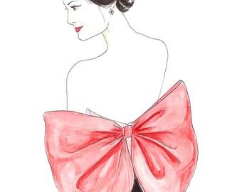 The Red Bow Watercolor Fashion Illustration Print, Valentino Fashion Wall Art, Glamorous Woman, Fashion Sketch