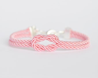 Light pink forever knot nautical rope bracelet with silver or gold anchor charm