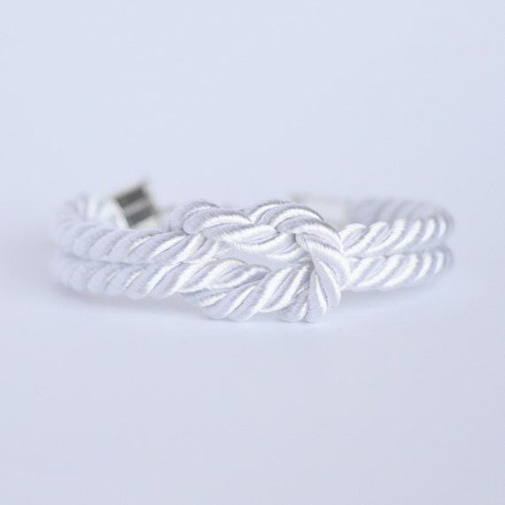White forever knot nautical rope bracelet with silver anchor charm