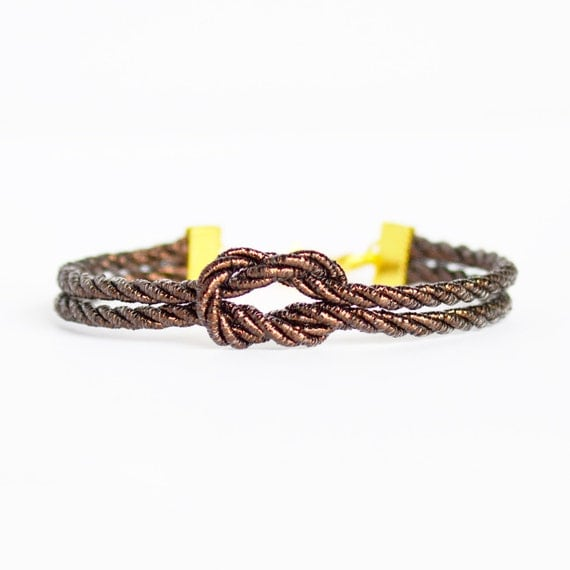 Metallic shiny brown forever knot nautical rope bracelet with gold anchor charm