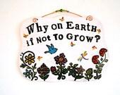 Personalized Garden Plaque - DEPOSIT Custom HandMade To Order Flower Blue Bird of Happiness Indoor, Outdoor Gardening Sign Wall Hanging Gift