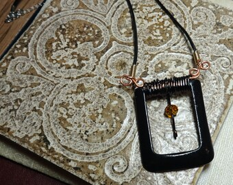 Necklace Industrial Found Object Metal Buckle Steampunk OOAK Jewelry FREE SHIPPING #2014-427