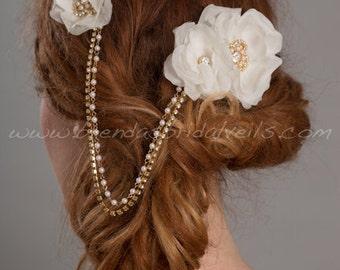 Gold Bridal Pearl and Rhinestone Hair Drape, Bohemian Headpiece, Bridal Halo, Silk Flower Wedding Headband - Antonia
