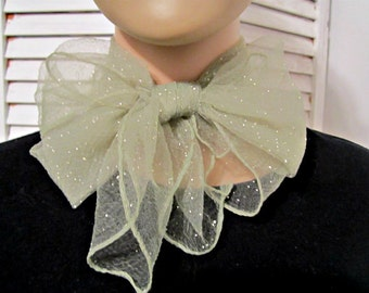 Nylon Scarf, Nylon Chiffon Scarf  Vintage Nylon Wrap Vintage Green-Grey Nylon Scarf With White Dots