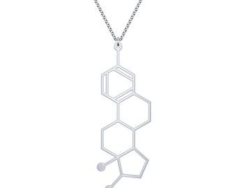 Estrogen Molecule Necklace - Silver