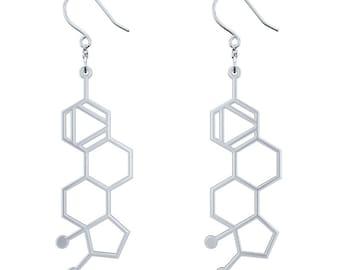 Estrogen Molecule Earrings - Silver