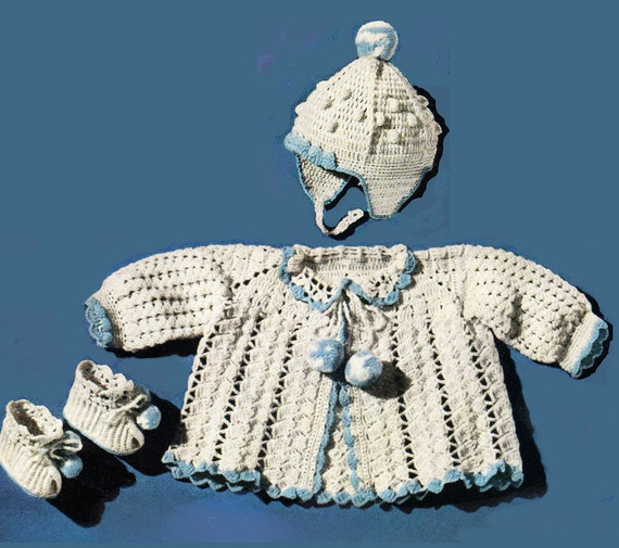 Crochet Baby Hat And Sweater Pattern : Baby Crochet Pattern Crochet Baby Sweater Pattern Baby