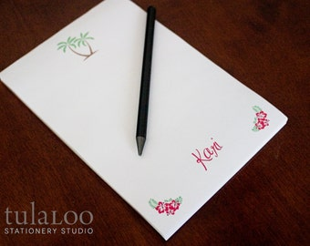 Palm Trees and Hibiscus Tropical Personalized Notepad