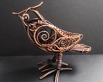 Copper Steampunk Bird Sculpture Wire Wrapped