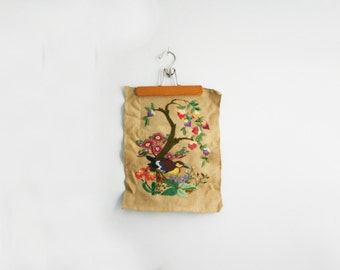 vintage 70s Colorful Flowers Tree & Bird Groovy Crewel Embroidery Wall Hanging