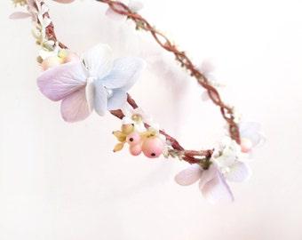 pastel flower crown, flower halo, lavender floral crown, flower girl, bridal hair piece, wedding headpiece, light purple flower, circlet