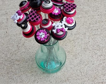 Rocker Girl Button Bouquet - Pink and Black Bouquet