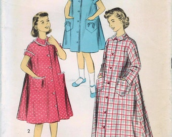1950s Advance 7804 Vintage Sewing Pattern Girl's Housecoat, Duster Size 8, Size 10