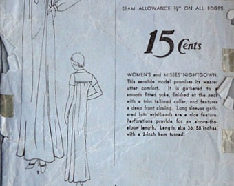 Vintage 30's Advance 902 Sewing Pattern, Misses' Nightgown. Size 16, 34 Bust