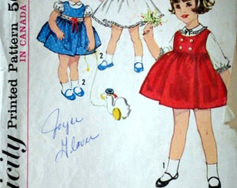 Simplicity 5239 Vintage 60's Sewing Pattern, Toddlers' Jumper And Blouse-Slip, Size 1 Girls