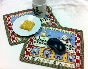 Christmas Snack Mat,  Mug Rugs, Candle Mats,  Computer Mouse Pad - Set of 2- Quiltsy Handmade