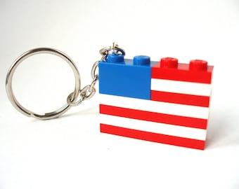 USA Flag Keychain. American Keychain - handmade with LEGO(r) Bricks Stars and Stripes Keyring