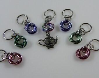 Knitting Stitch Markers - Tea Pot Stitch Markers - Tea Knitting Stitch Markers - Chainmaille Stitch Markers - Moebius Stitch Marker