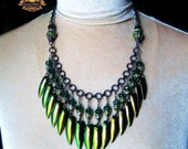 Jewel Beetle Wing Elytra Bib Amulet Necklace Rare Copper Gold Green Color Crystal Boho Gypsy Pagan UNSEELIE QUEEN by Spinning Castle
