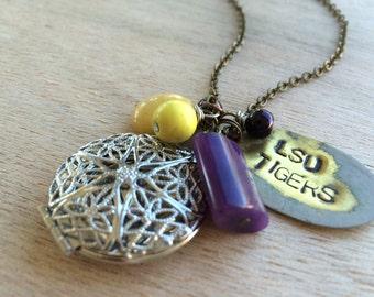 C173 LSU Tigers Locket Necklace
