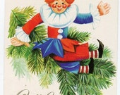 Vintage Christmas Postcard from the 1980s of Clown in Christmas Tree vintage postcard, SharonFosterVintage