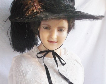 Clearance Edwardian Antique C. 1910 Huge Merry Widow Black Lace Hat with Ostrich Feathers