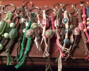 Beaded macrame hemp keyring - SO MANY CHOICES!