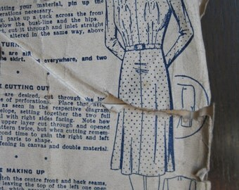 """1940s Dress - 44"""" Bust - Bestway 18,428 - Vintage Sewing Pattern - Wartime WW2 Home Front"""
