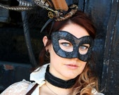 Harley Quinn Attends the Opera - Jewel Encrusted Black Masquerade Ball Mask - Steampunk Comic