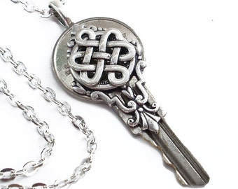 Celtic Dreams - Silver Celtic Knot Key Pendant