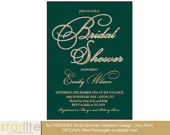 Jade Dark Green Gold Bridal Shower Invitation, Sparkly Glitter Hens, Engagement Party,Wedding Script, Printable Design or Printed Option