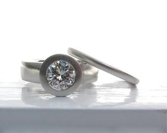950 platinum and bezel set diamond wide band low profile engagement ring and wedding band set