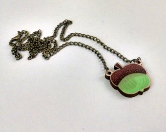 Green Acorn wood charm necklace