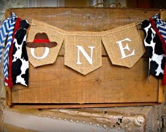 Rodeo Banner, Wrangler, Burlap Flag, County fair I AM ONE flag garland onederland farm theme Cowgirl horse First Birthday