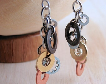 Dangle Earrings Mixed Metal Hardware Jewelry Industrial Black, Copper, Brass Washers Eco Friendly, Gifts under 25